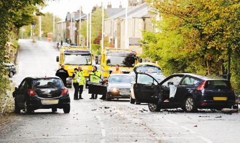 ACCIDENT Scene of crash in Blackburn Road
