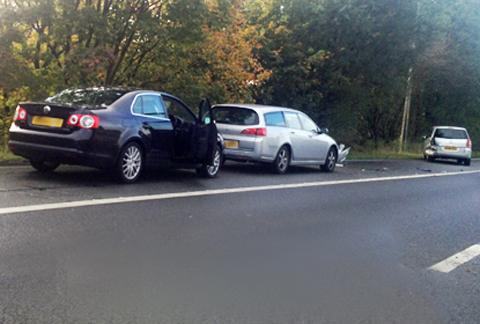 The damaged cars at the scene of the crash. Photo: Becky Parkinson