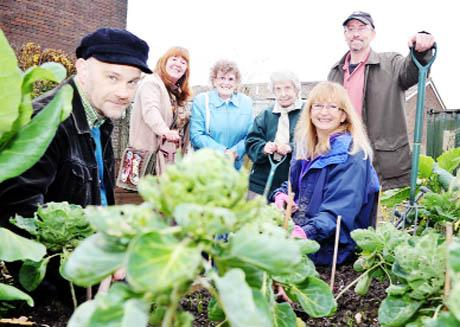 GREEN GANG Volunteers and supporters at the Stroke Association's new allotment