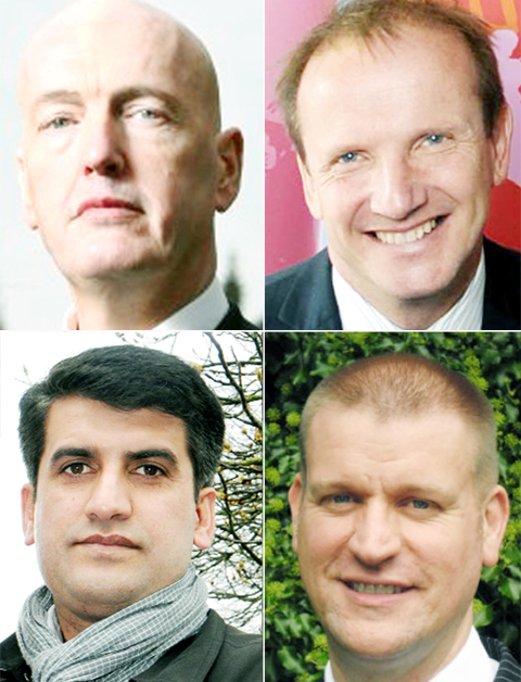 Clockwise from top left: Labour's Clive Grunshaw, Tory Tim Ashton, Lib Dem Afzal Anwar and UKIP's Robert Drobny