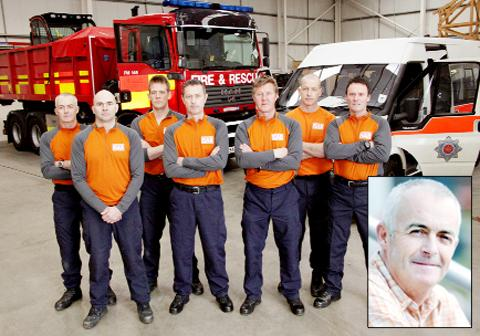 Retired firefighter Andy Barnes pictured with the emergency team that went to Japan after the earthquake of 2011