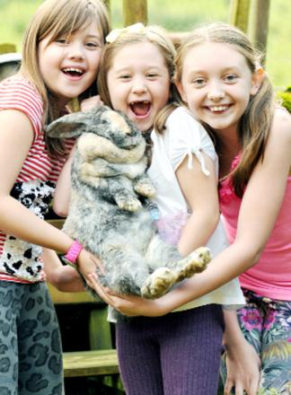 Dora the rabbit is protected by brave Aimee Navesey and sisters Katie and Lucy