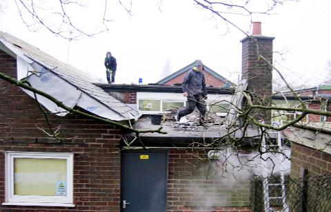 Workers on the roof at Clayton-le-Woods Primary School