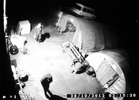 CCTV shows intruders inside the Freshfields base