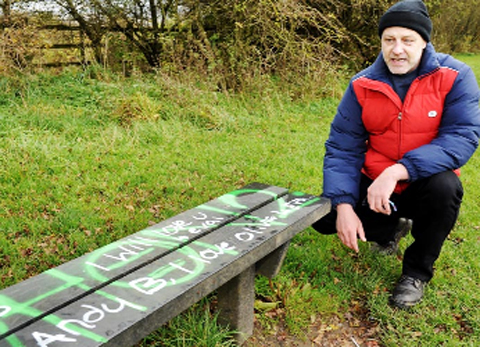 Paul Wilkinson from Rishton Prospects panel and the vandalised benches