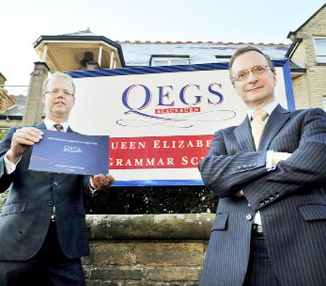 NEW ERA Chairman of governors Jeremy Gorick and headmaster Simon Corns unveil the QEGS free school prospectus