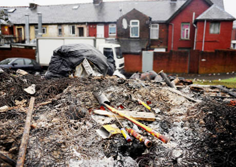 MORNING AFTER Charred remains in Cedar Street, Bastwell