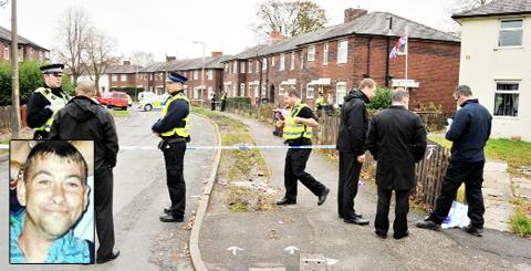 Police at Fielding Crescent after the attack on Thomas Hill (inset)