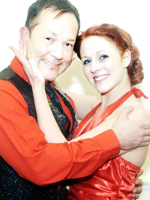 Copacabana cast members Sophie Lord and James Cockerill.