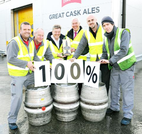 Thwaites team members celebrate their achievement