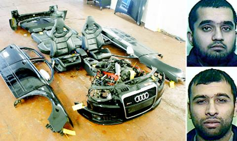 Shoayb Patel (top) and Arif Gorji and some of the stolen car parts.