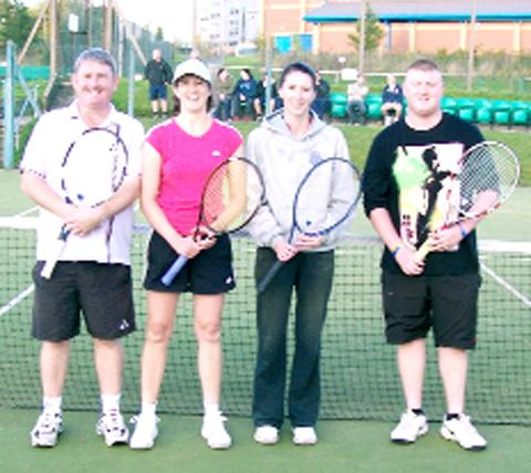 Mixed doubles finalists Iain Taylor and Jill Thorpe and Elaine Varcoe and Daniel Taylor