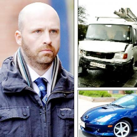 ON TRIAL PC Brendan Buggie. Above the van he collided with, and a Toyota Celica, similar to the one PC Buggie was driving
