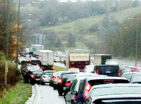 CRASH DRAMA Vehicles on the hard-shoulder after a crash near junction 12 on the M65  PICTURE Becky Parkinson