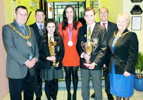 From left, Mayor of Hyndburn Coun John Broadley, headteacher Xavier Bowers, headgirl Sadie Goode, Olympian Samantha Murray, headboy James Kelly, vice-chairman of governors Jan Gedzielewski and Mayoressof Hyndburn Jean Broadley