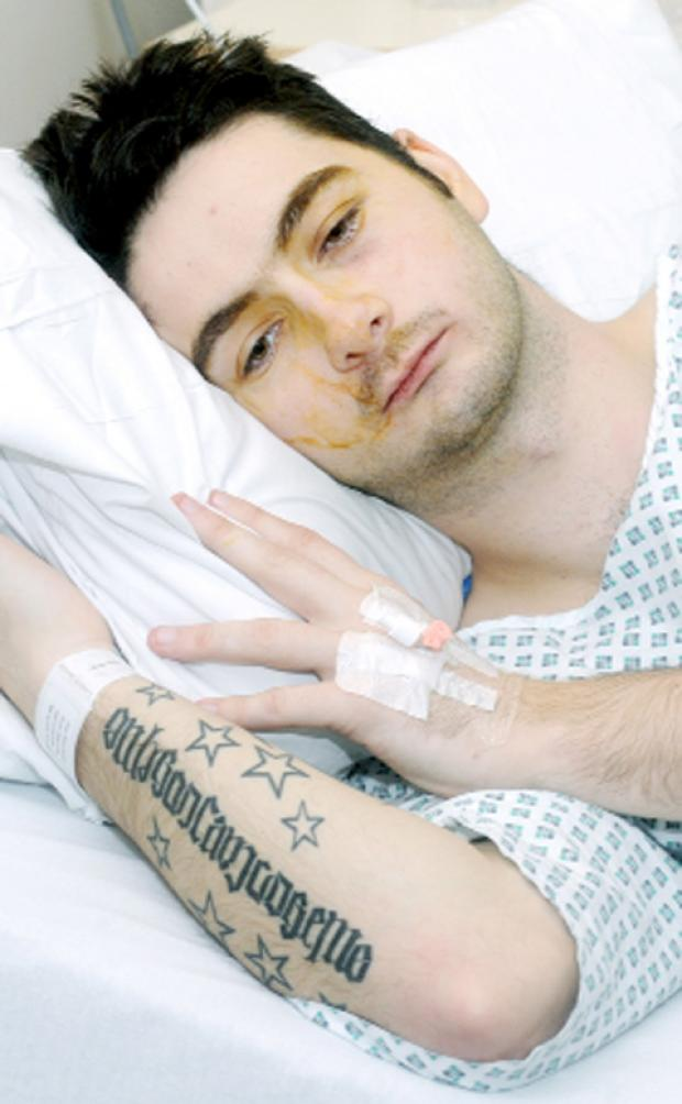 Liam Golden in his hospital bed