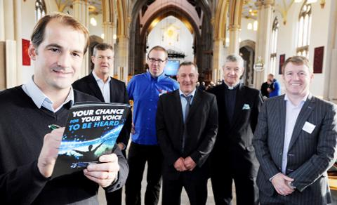 Darwen MP Jake Berry signs up to the Rovers Trust at its launch at Blackburn Cathedral