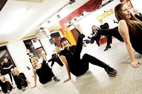 Basics dancers go through a routine for 42nd Street