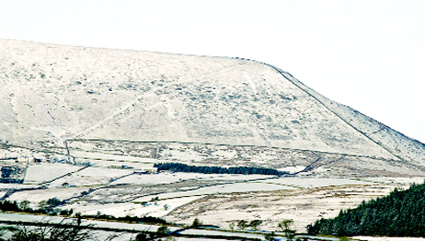 Snow on Pendle Hill. Photo: Chris Walker