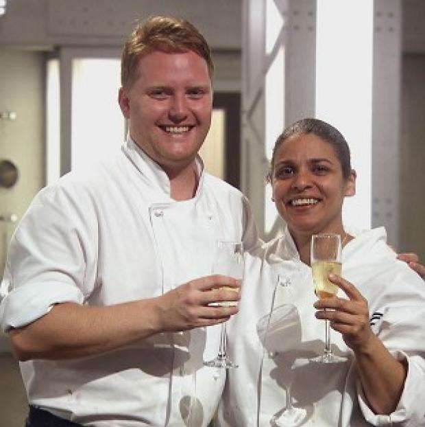 Keri Moss, 41, and Anton Piotrowski, 30, shared the title on MasterChef The Professionals (BBC/PA)