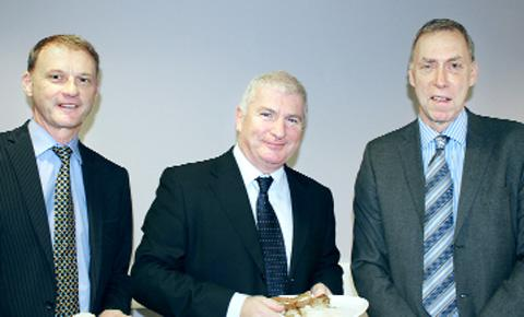 INVESTIGATING Tim Oldfield and Donnie Doran with Mike Damms, chief executive of the East Lancs Chamber of Commerce