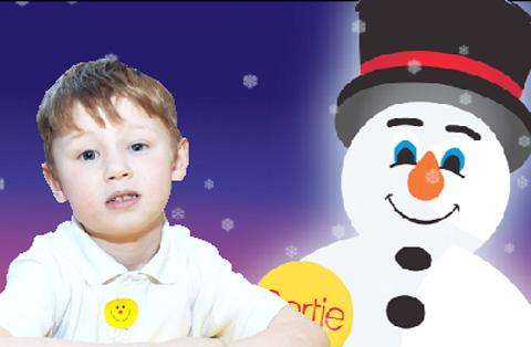 BIGGEST EVER Bertie the Snowman and left, prize winner Lewis McLeod