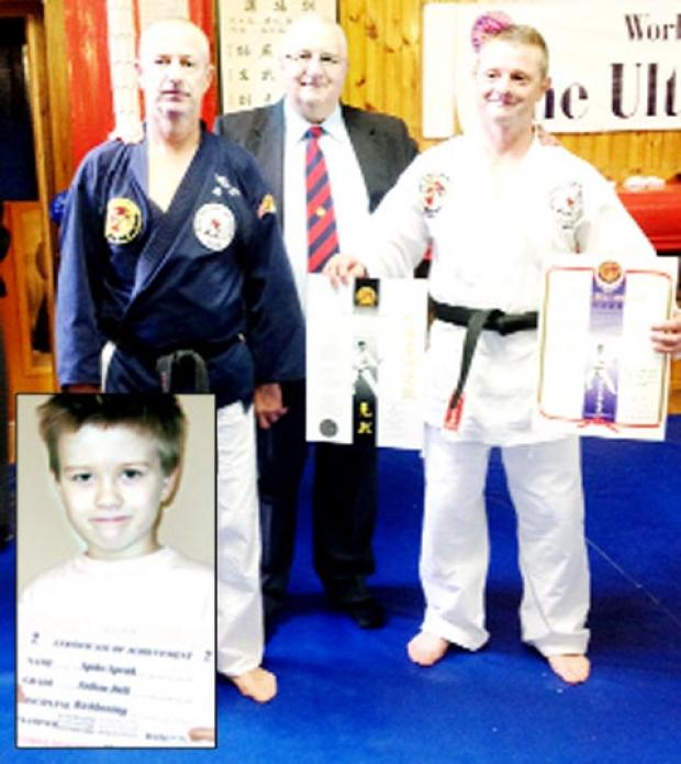 Shihan Simon Jones, David Flaherty 8th Dan & Sensei Paul Armer 1st Dan and (inset) Spike Speak with his yellow belt
