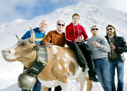 Fogarty, second right, in the Alps with, from left, Lawrence Dallaglio, Christian Sarbache, James Blunt and Rob Sawyer.