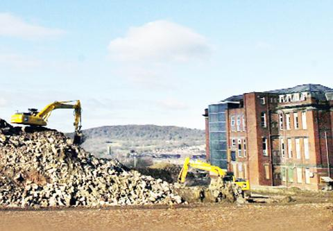 Demolition work at the former Blackburn Royal Infirmary site