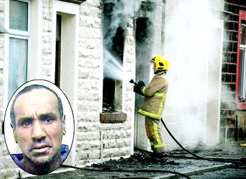 Firemen at the scene of the blaze caused by Imran Saddique (inset)