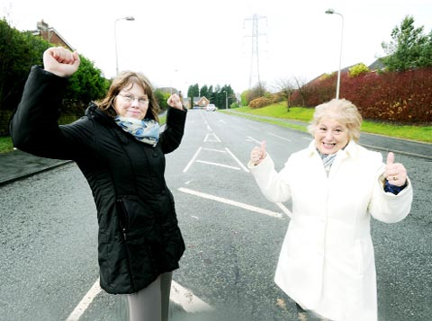 Coun Denise Gee, left, and Coun Jacqueline Slater celebrate the decision which will see Oakdale residents benefit from a range of council services