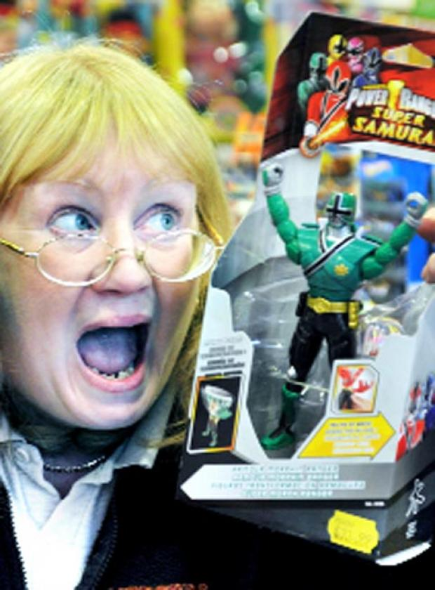 Linda Yates of Mercers Toys with one of the popular Power Rangers toys