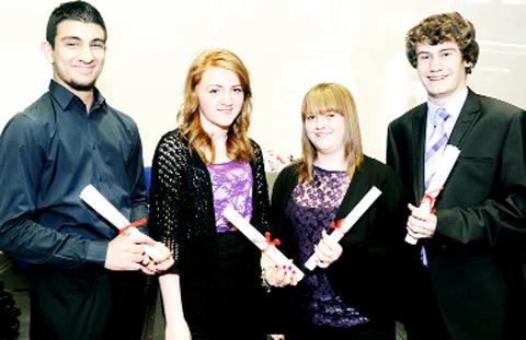 Haroon Hussain, now at Edgehill University, Victoria Britland, now in sixth form, Emily Haire, now at Liverpool University, and Jack Hambley, now in sixth form