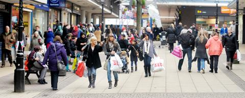 Shoppers in Burnley town centre