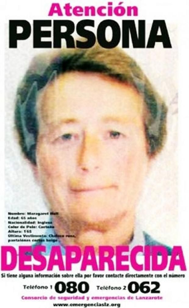 A missing person poster being circulated on Lanzarote