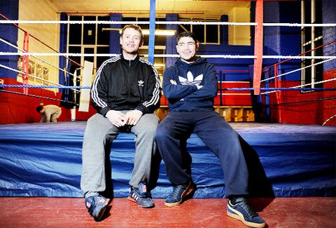 Jennings and brother Dave, left, in their new gym in Coppull where youngsters train