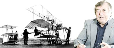 LABOUR OF LOVE Jim Longworth with his new book Test Flying in Lancashire. Left, a Roe triplane