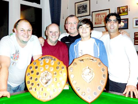 The winning Hollins Grove team (l-r):  Barry Pease, George Holden (captain), Mik Horsley, Conor Walsh and Mohamed Rafique