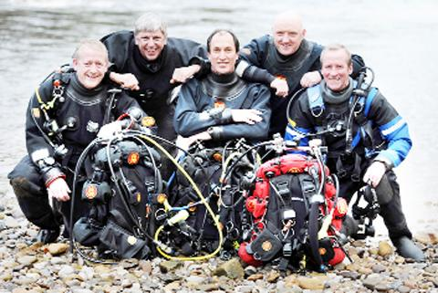 The team of scuba divers
