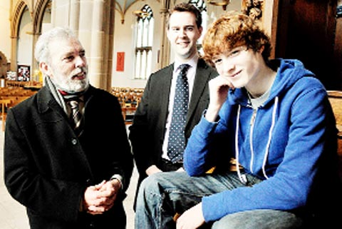 DEEPER TONE Chorister Ben Fourie, whose voice has broken, with Prof Martin Ashley and Cathedral director of music Samuel Hud