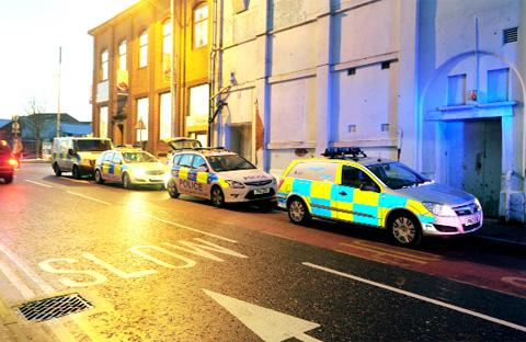 PROBE Police at the incident in Mill Lane, Blackburn town centre