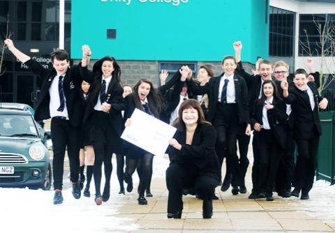Pupils celebrate at Unity College
