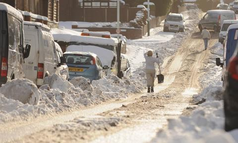Snow was piled up in East Lancashire on Saturday