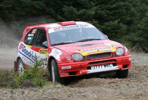 IN ACTION Jonny Milner in his Toyota Corolla WRC
