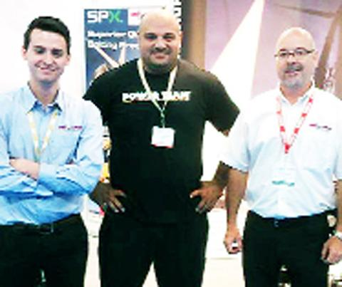 CORPORATE MUSCLE Laurence Shahlaei with representatives from sponsors Gee-Force