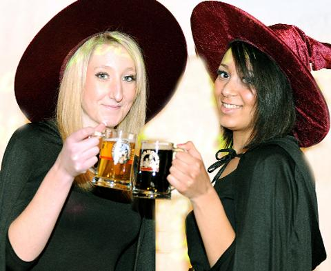 Georgia Dutton and Chloe Aughtham at last year's Pendle Beer Festival