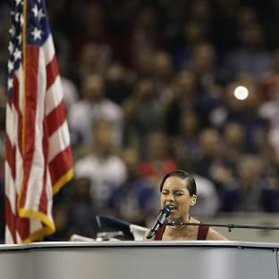 Alicia Keys sings the national anthem before the NFL Super Bowl in New Orleans. (AP/Mark Humphrey)