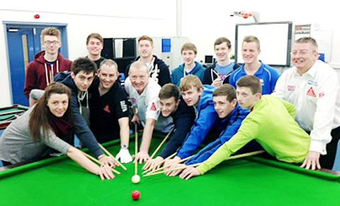 Steve Davis with Accrington Academy students