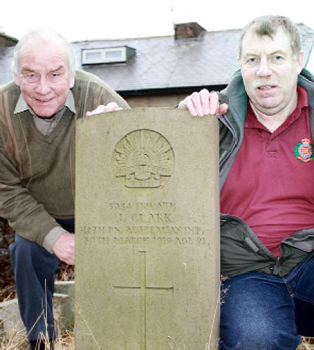 Angus Lindsay and Bob Wilson with the memorial stone