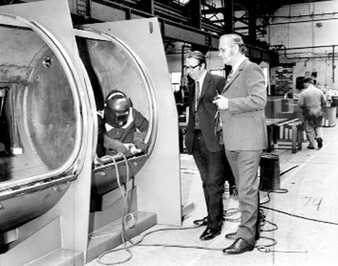 An 800lb washer extractor being made at Cherry Tree in 1974